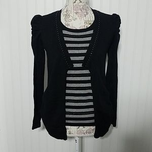Faux Cardigan Stretch Seater top M BLING